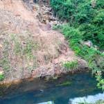 Une rivière derrière les jardins