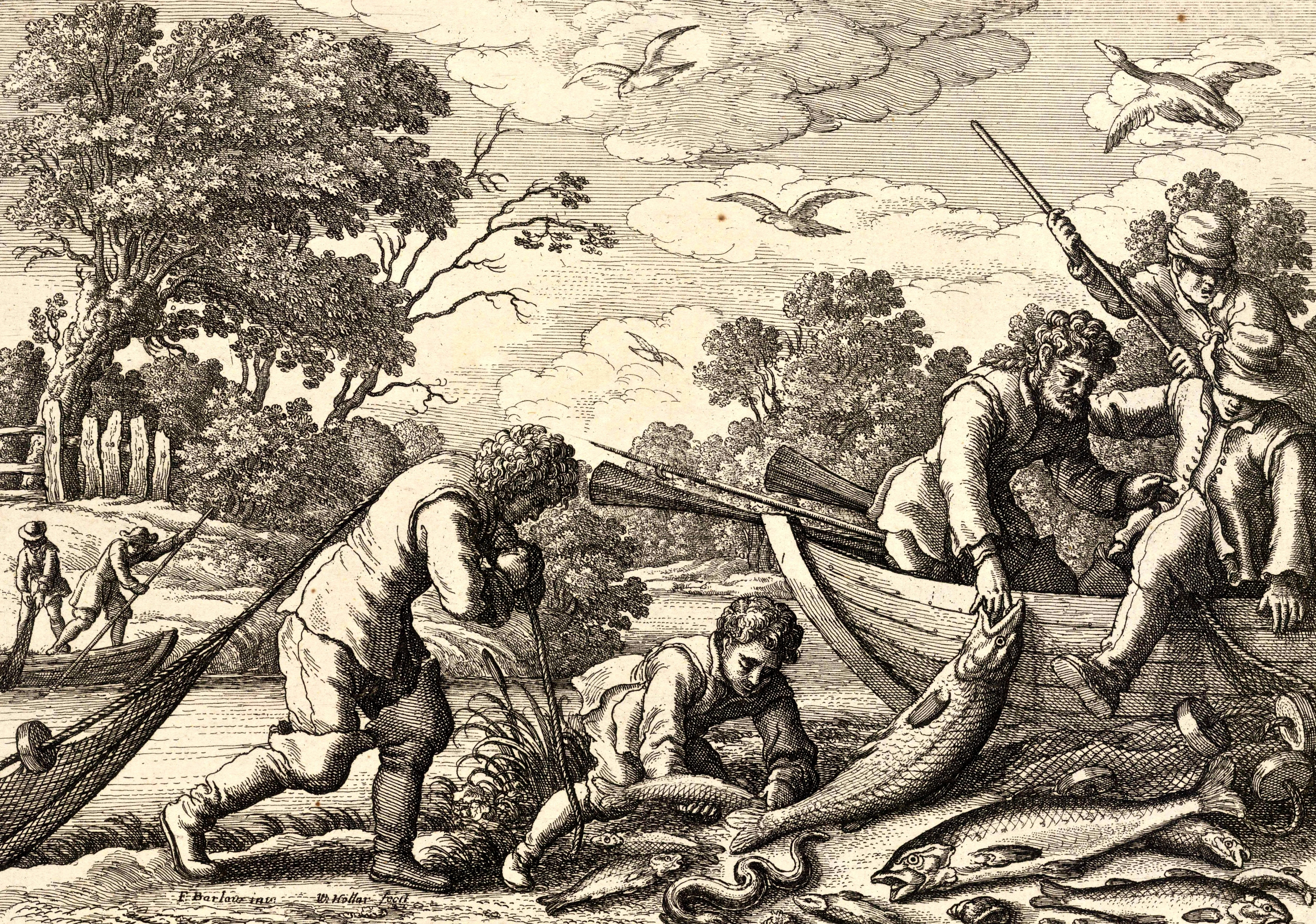 Wenceslas_Hollar_-_Salmon_fishing_(State_1)