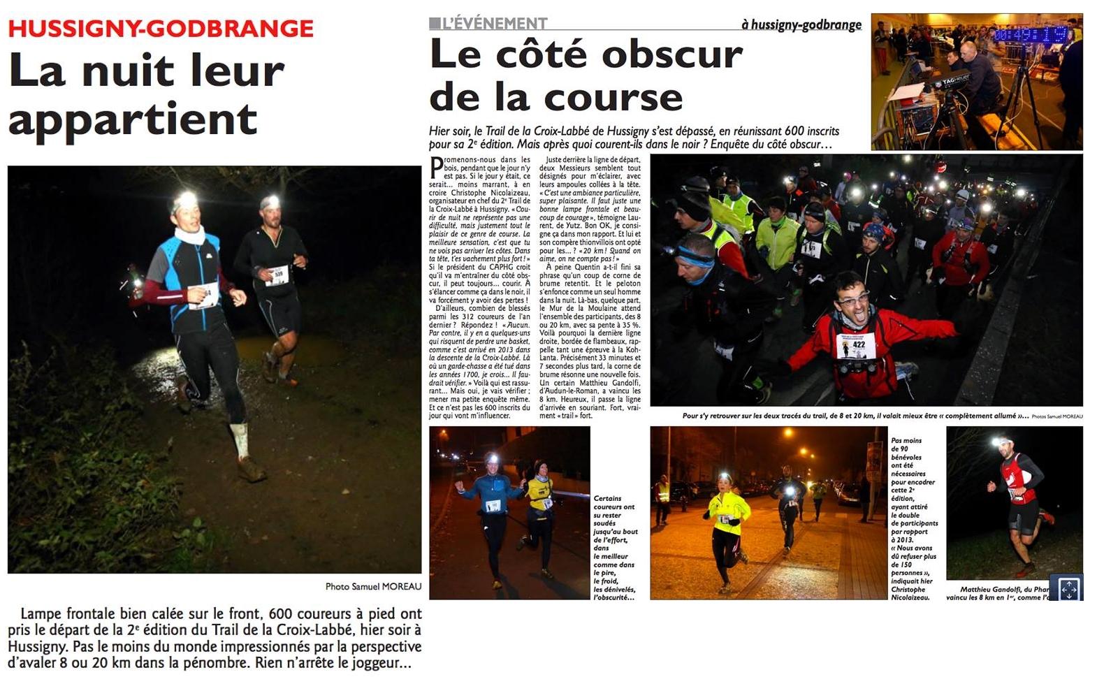 Trail de la Croix Labbé 2014 article dans le journal