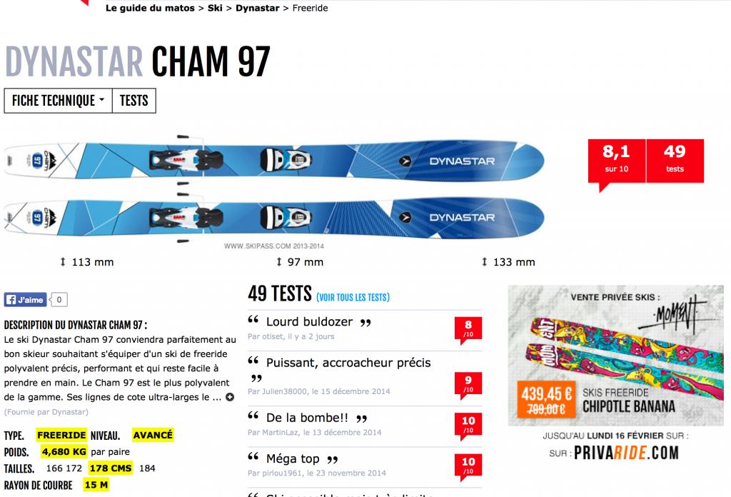 Avis ski Cham 97 skipass