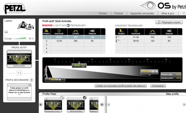 Interface de l'OS Petzl