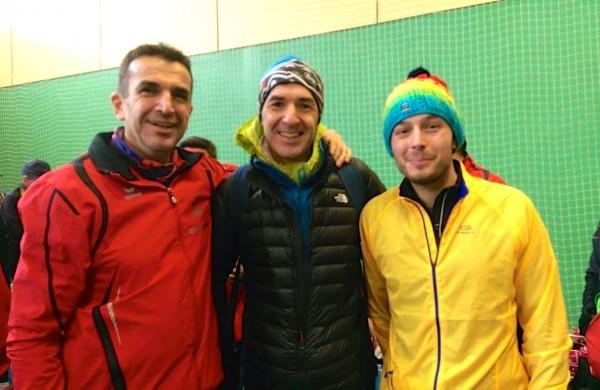 Avec deux de mes collègues de course (pour la dédicace)