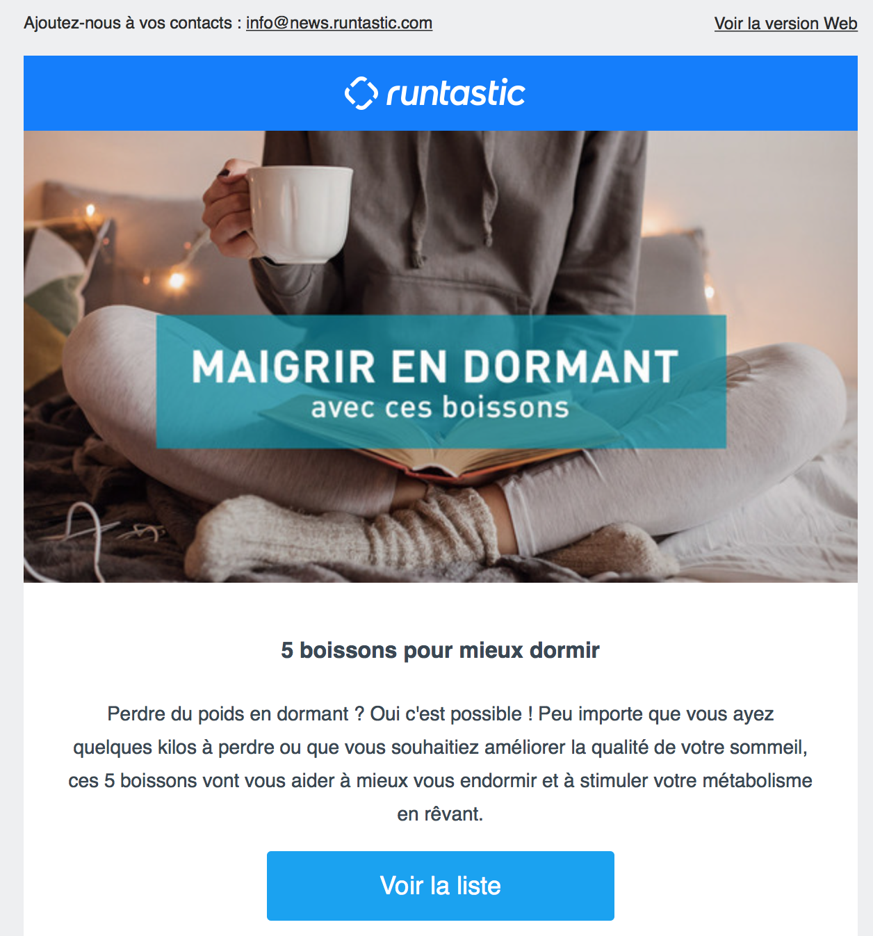 Exemple de newsletter Runtastic